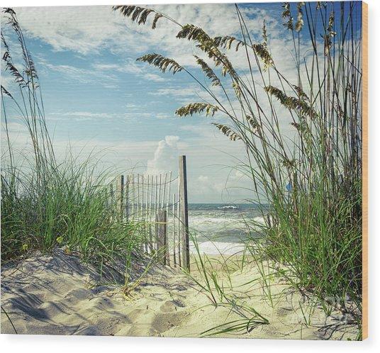 To The Beach Sea Oats Wood Print
