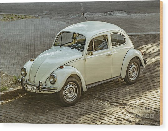 Classic Beetle Car Parked On Street Wood Print by Daniel Ferreira-Leites
