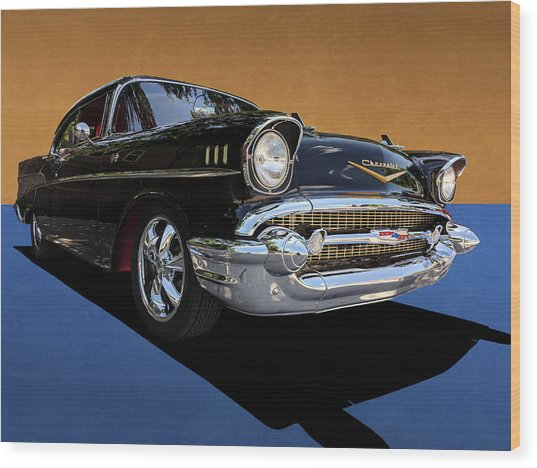 Classic Black Chevy Bel Air With Gold Trim Wood Print