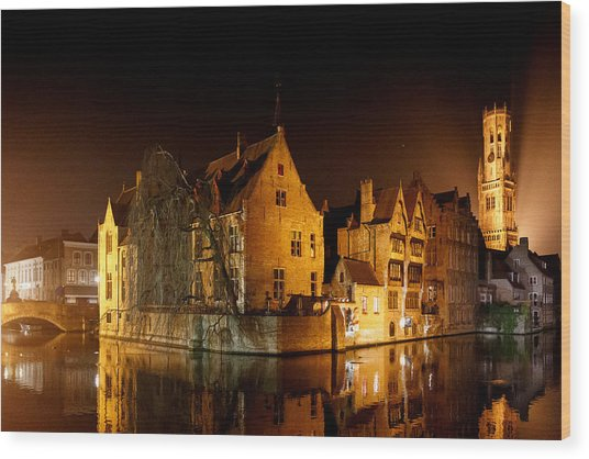 Classic Bruges At Night Wood Print