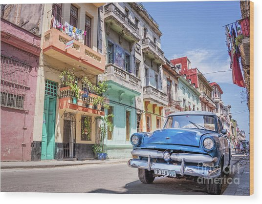 Classic Car In Havana, Cuba Wood Print