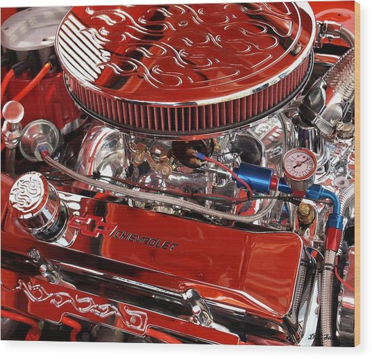 Classic Chevrolet Engine Wood Print by Dennis Stein