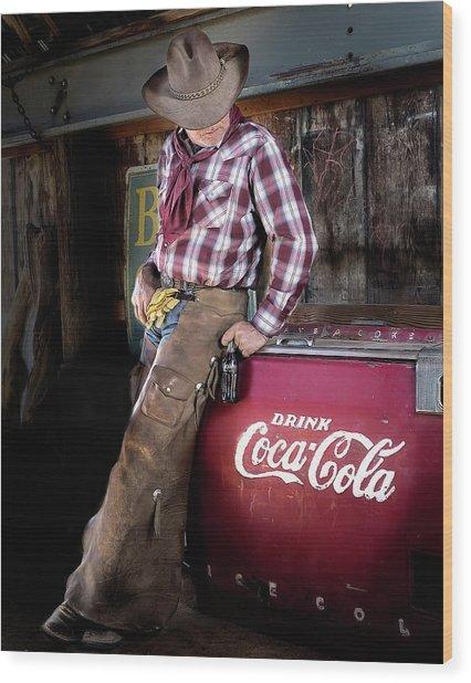 Classic Coca-cola Cowboy Wood Print
