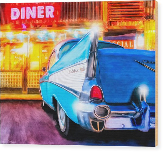 Wood Print featuring the mixed media Classic Diner - 57 Chevy by Mark Tisdale