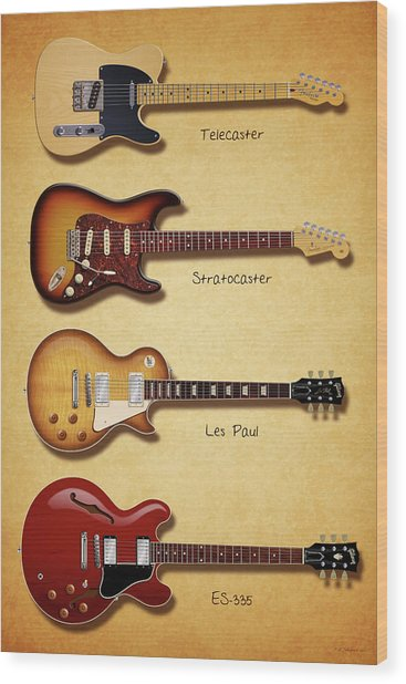 Classic Electric Guitars Wood Print