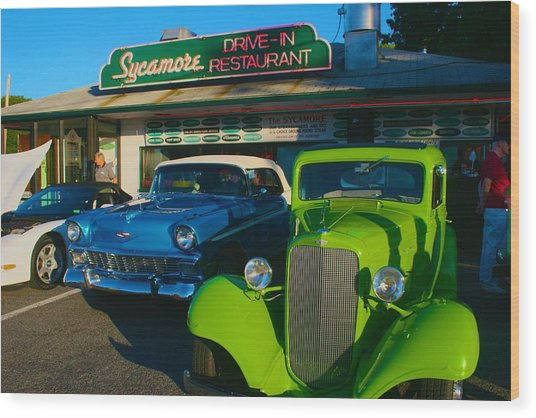 Classic Lime Green Car In Front Of The Sycamore Wood Print