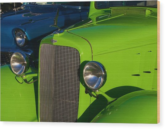 Classic Lime Green Car Wood Print