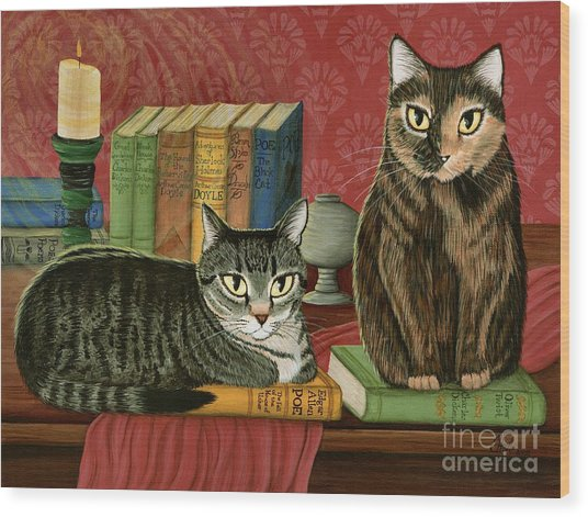 Classic Literary Cats Wood Print