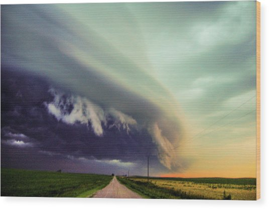 Classic Nebraska Shelf Cloud 024 Wood Print