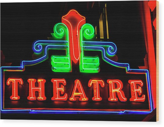 Classic Neon Theatre Sign Wood Print