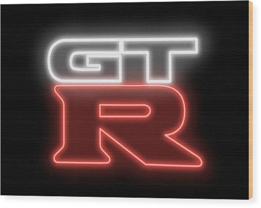 Classic Nissan Gtr Neon Sign Wood Print