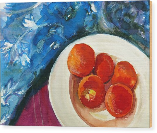 Classic Peaches Wood Print by Doranne Alden