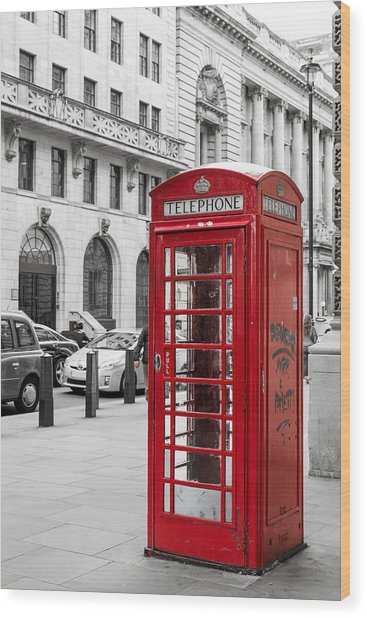 Red Telephone Box In London England Wood Print