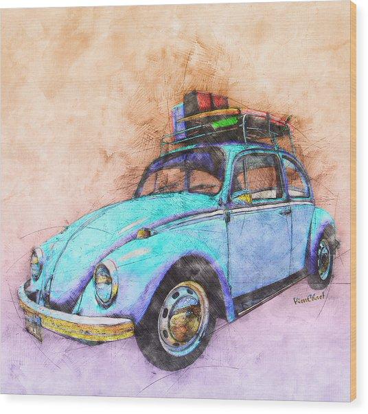 Classic Road Trip Ride Watercolour Sketch Wood Print