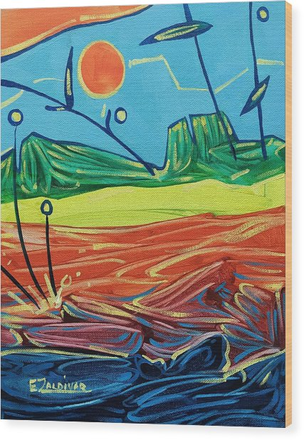 Classic Sunset At The Sea Wood Print
