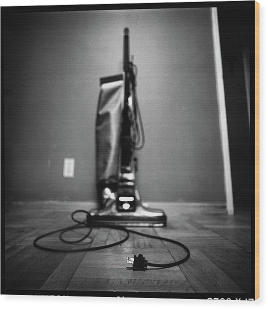 Classic Vacuum And Cord In Bw Wood Print