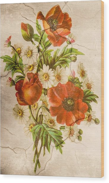 Classic Vintage Shabby Chic Rustic Poppy Bouquet Wood Print