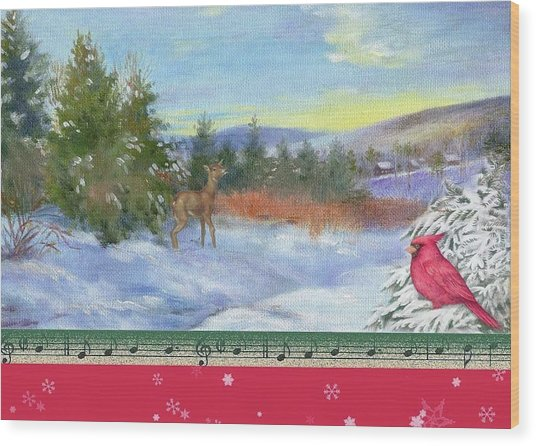 Classic Winterscape With Cardinal And Reindeer Wood Print