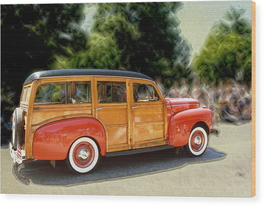 Classic Woody Station Wagon Wood Print by Roger Soule