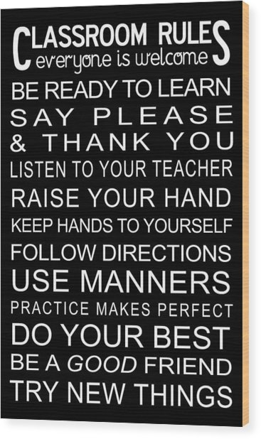Classroom Rules Poster Wood Print