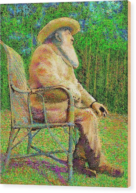 Claude Monet In His Garden Wood Print