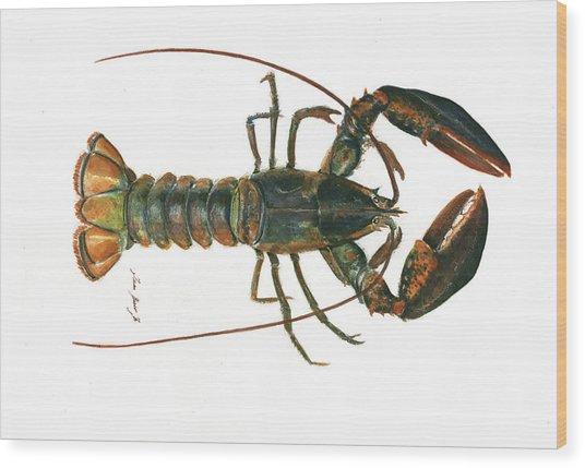 Clawed Lobster Art Wood Print