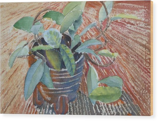 Wood Print featuring the painting Clay Pot by Ruth Kamenev