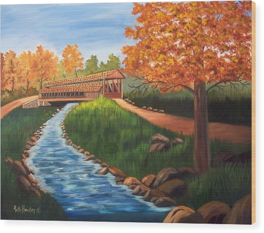 Claycomb Covered Bridge Sold Wood Print by Ruth  Housley