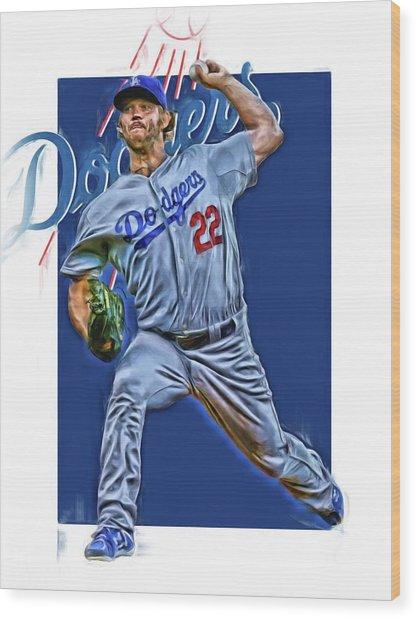 Clayton Kershaw Los Angeles Dodgers Oil Art Wood Print