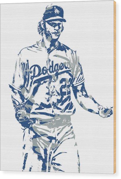 Clayton Kershaw Los Angeles Dodgers Pixel Art 10 Wood Print