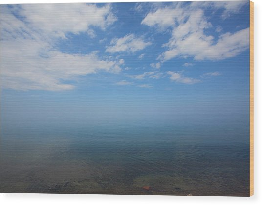 Clear Blue Waters With Clouds, Lake Superior Wood Print