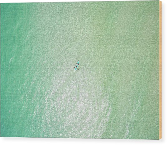 Clear Gulf Paddle Board Aerial Wood Print