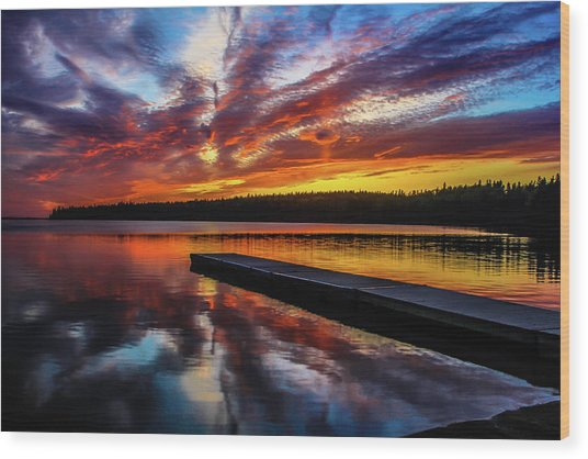 Clear Lake At Sunset. Riding Mountain National Park, Manitoba, Canada. Wood Print