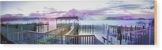 Clouds On Clear Lake Wood Print
