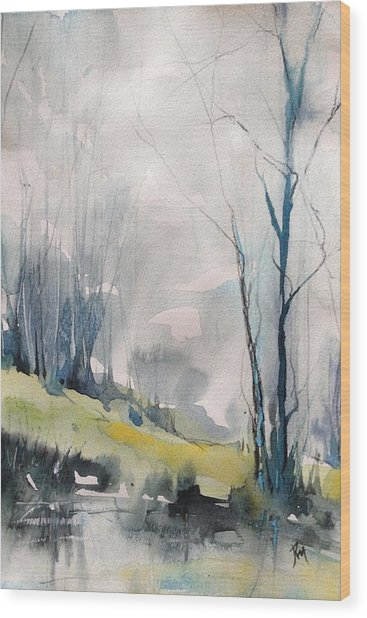 Clearing By The Riverbank Wood Print