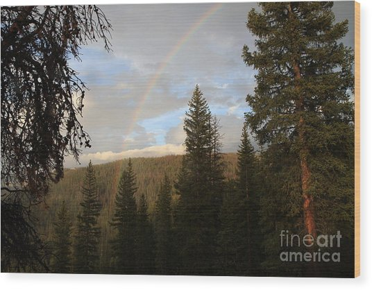 Clearing Rain And Rainbow Wood Print