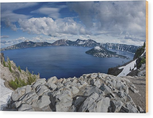 Clearing Storm At Crater Lake Wood Print