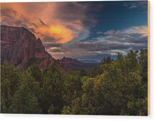 Clearing Storm Over Zion National Park Wood Print