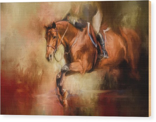 Clearing The Jump Equestrian Art Wood Print