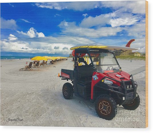 Clearwater Beach Lifeguard Atv Wood Print