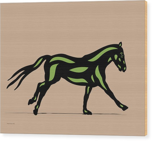 Clementine - Pop Art Horse - Black, Geenery, Hazelnut Wood Print