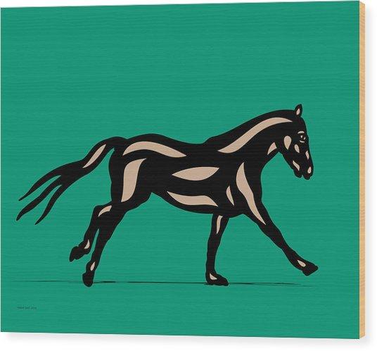Wood Print featuring the digital art Clementine - Pop Art Horse - Black, Hazelnut, Emerald by Manuel Sueess