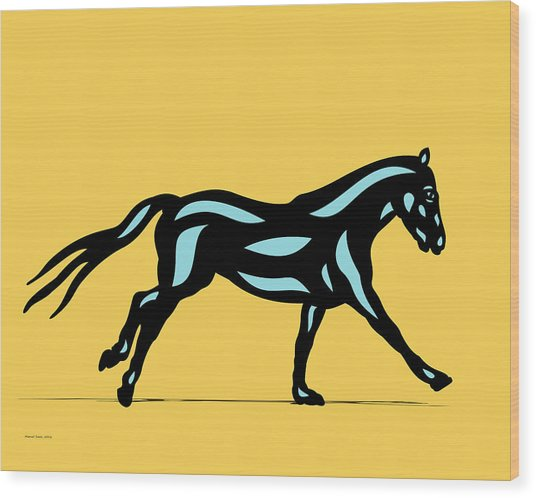Clementine - Pop Art Horse - Black, Island Paradise Blue, Primrose Yellow Wood Print