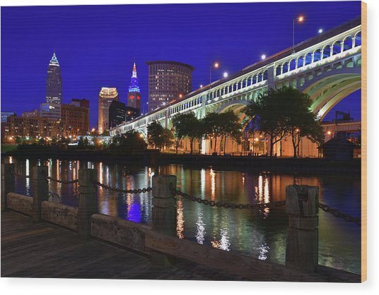 Cleveland Boardwalk Skyline Wood Print