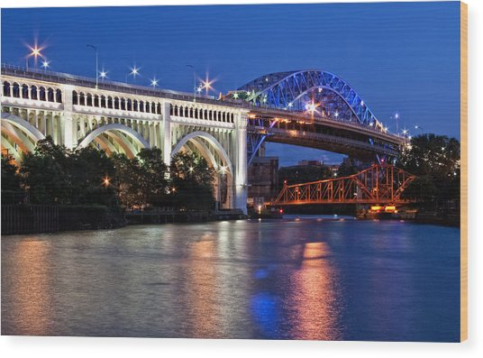 Cleveland Colored Bridges Wood Print