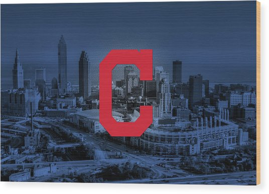 Cleveland Indians City Wood Print by Nicholas Legault