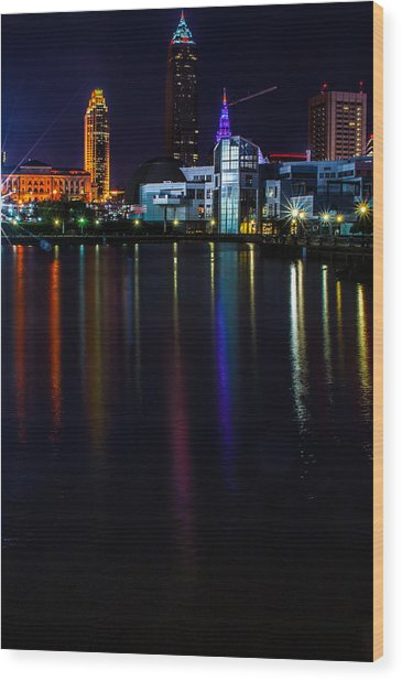 Cleveland Nightly Reflections Wood Print
