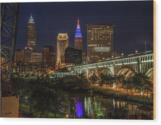 Cleveland Nightscape Wood Print