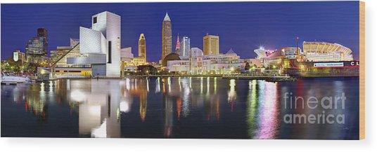 Cleveland Skyline At Dusk Wood Print