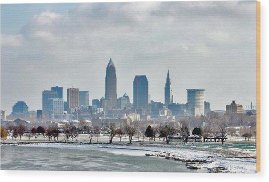 Cleveland Skyline In Winter Wood Print